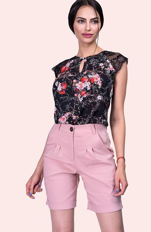 Къс панталон в цвят пепел от рози