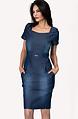Дънкова рокля с къс ръкав в прав силует