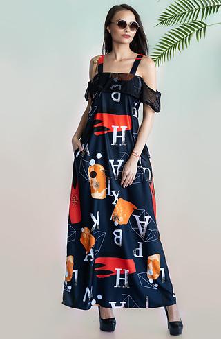 Дълга разкроена рокля с принт