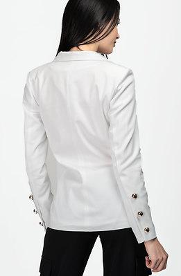 Дамско сако с двуредно закопчаване в бяло