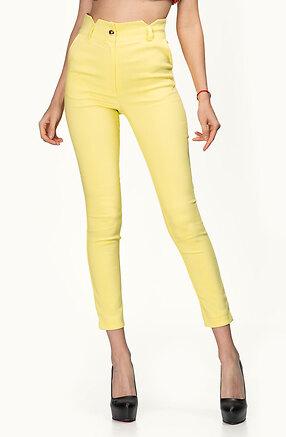 Стилен панталон с висока талия в жълт десен