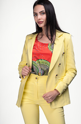 Комплект от сако и панталон с висока талия в жълт десен