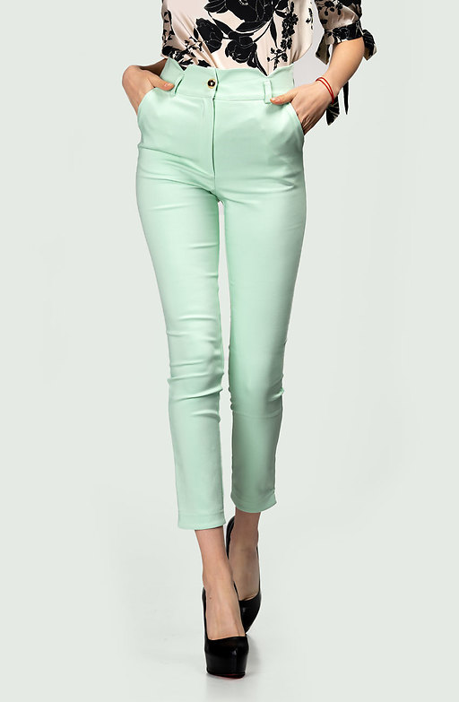 Стилен панталон с висока талия в цвят мента