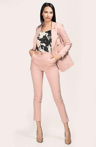 Комплект от сако и панталон с висока талия в цвят пепел от рози