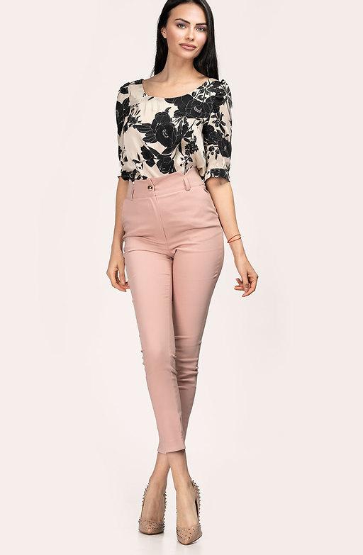 Стилен панталон с висока талия в цвят пепел от рози