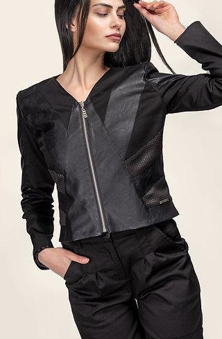 Черно сако с цип и кожени елементи