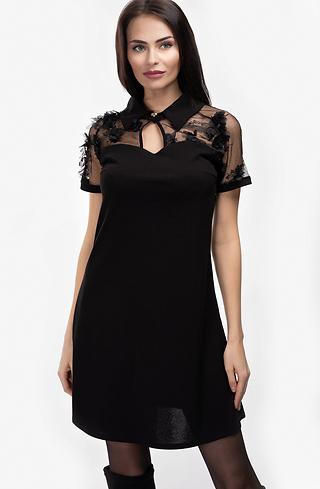 Къса рокля трапец с якичка