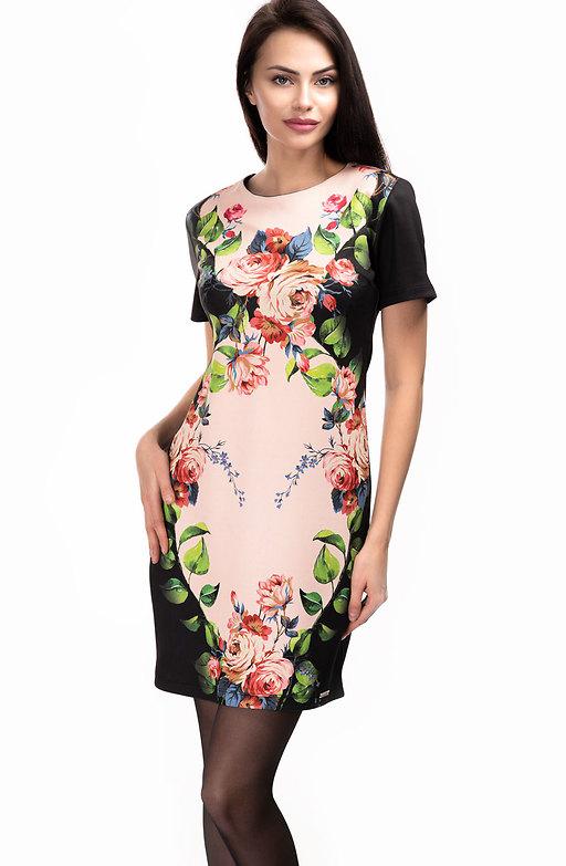 Стилна рокля с принт от еластичен неопрен