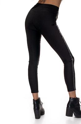 Панталон тип клин с висока талия и кожен кант