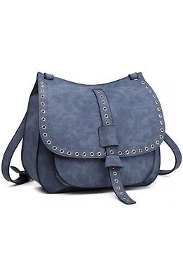 Дамска чанта от еко велур в син десен
