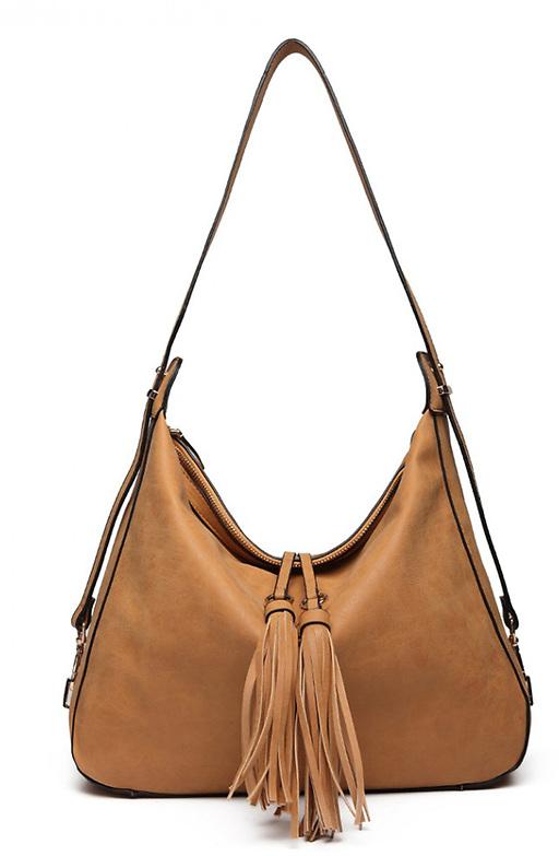 Дамска чанта в бохо стил в бежево