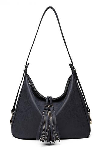 Дамска чанта в бохо стил в тъмно синьо