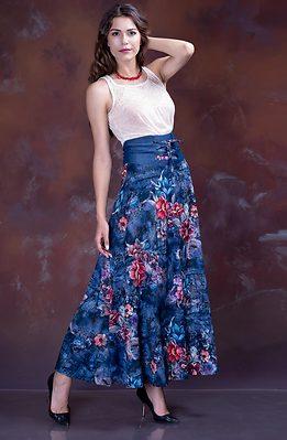 Дълга разкроена пола с висока талия в синьо