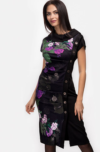 Стилна рокля трапец с копчета на цветя