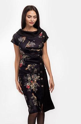 Стилна рокля трапец с копчета
