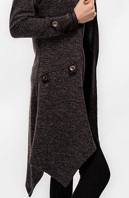 Асиметрична сива жилетка от плетиво