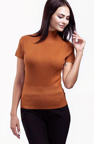 Поло блуза с къс ръкав в цвят керемида