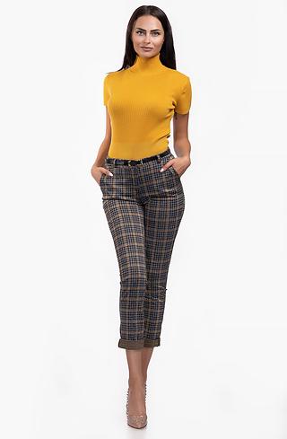 Панталон каре с висока талия и колан
