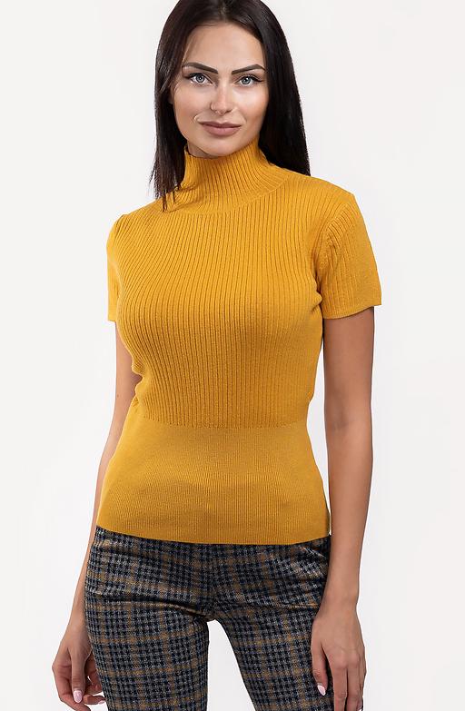 Поло блуза с къс ръкав в цвят горчица