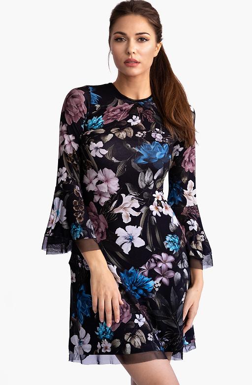 Флорална рокля с ръкав камбанка