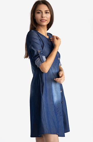 Асиметрична рокля от деним с бродерия
