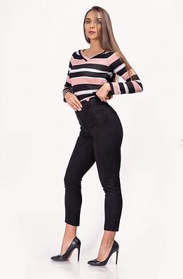 Панталон от еластичен велур с висока талия
