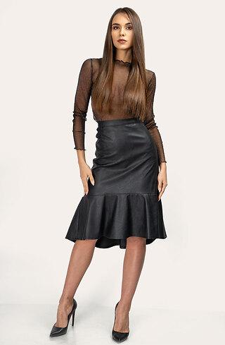 Асиметрична кожена пола с висока талия