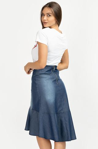 Асиметрична пола с висока талия от деним