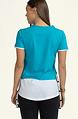 Двуцветна тениска в цвят тюркоаз и бяло