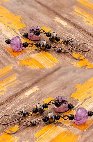 Обеци Purple Butterfly