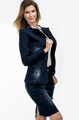 Дънков комплект от сако и пола