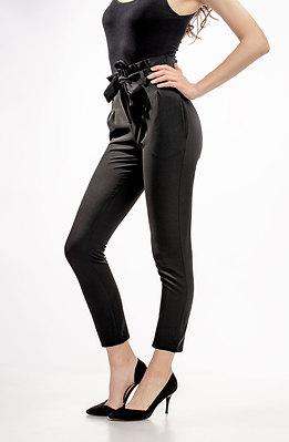 Панталон тип цигара с висока талия и текстилен колан
