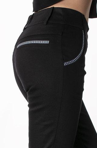 Елегантен дамски панталон с цветен кант