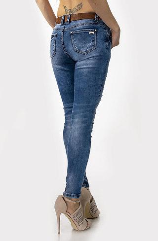 Еластични дънки Макси с кожен колан