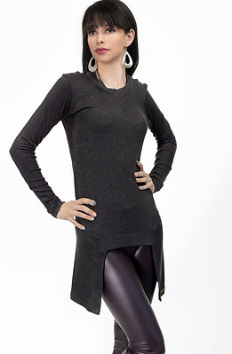Туника от фино плетиво в тъмно сиво
