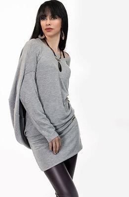 Туника с ефектен гръб в сиво