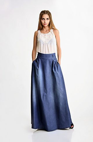 Дълга дънкова пола