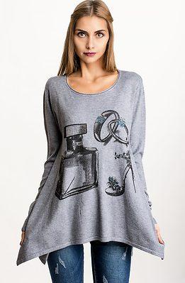 Блуза от фино плетиво с шал