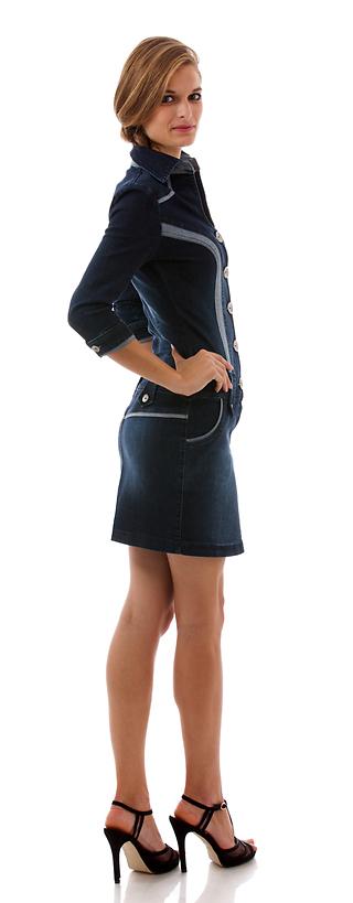 Дънкова рокля с 3/4 ръкав