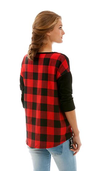 Карирана блуза с дълъг ръкав