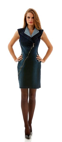 Дънкова рокля с диагонален цип