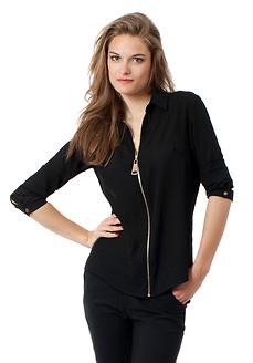 Черна риза с дълги ръкави