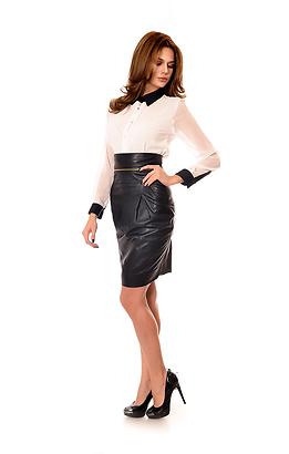 Кожена пола с декоративен цип