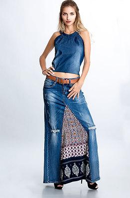 Дълга пола от дънки и памучен плат I