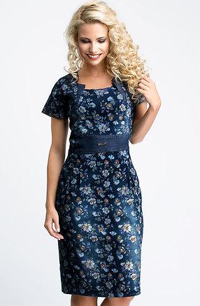 Дънкова рокля с десен на цветя