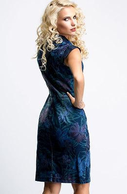 Дънкова рокля с ревер и диагонален цип