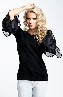 Блуза от финно плетиво с ефектни ръкави