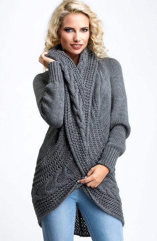 Плетена жилетка с шал яка в тъмно сив десен