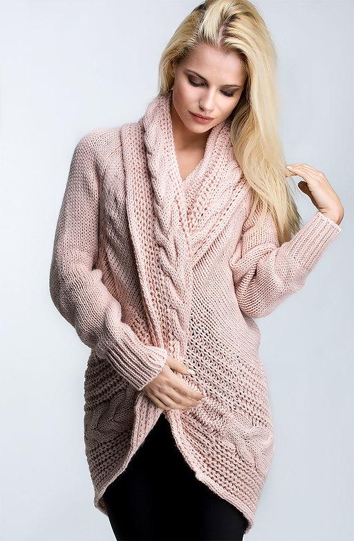 Плетена жилетка с шал яка в розов десен