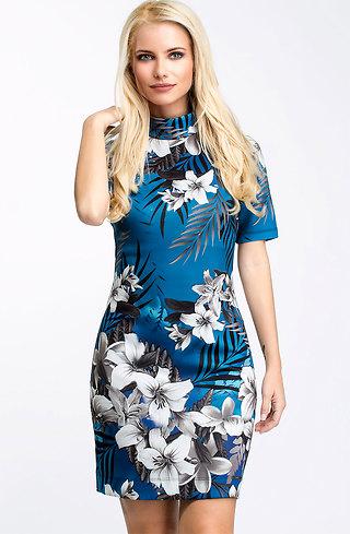 Къса рокля в син десен на цветя